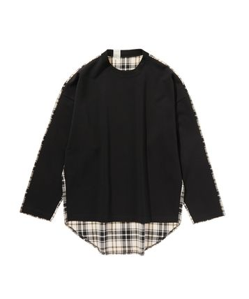 Crew Neck Other Plaid Patterns Wool Long Sleeves Cotton
