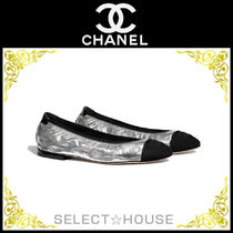 CHANEL Leather Metallic Ballet Shoes