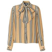 Burberry Stripes Silk Long Sleeves Shirts & Blouses