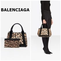 BALENCIAGA CABAS Leopard Patterns Casual Style Canvas A4 Logo Totes