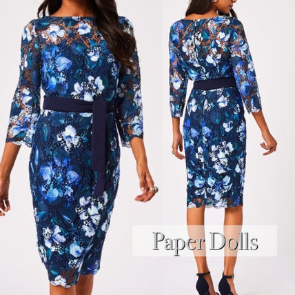 Flower Patterns Tight Cropped Long Sleeves Medium Midi Lace