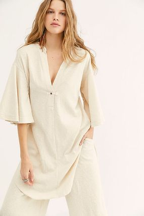 Casual Style Maxi V-Neck Cropped Cotton Long Puff Sleeves
