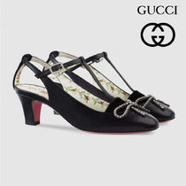 GUCCI Flower Patterns Casual Style Elegant Style Pumps & Mules