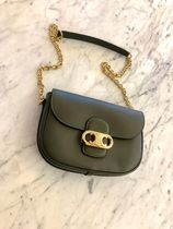 CELINE Triomphe Calfskin Street Style 2WAY Chain Plain Party Style