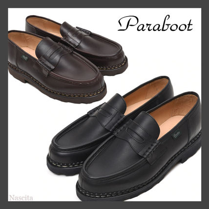 Plain Toe Loafers Plain Leather Logo Loafers & Slip-ons