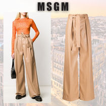 MSGM Casual Style Wide Leg Pants