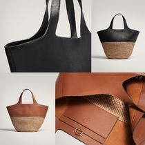 Massimo Dutti Lambskin Plain Leather Straw Bags