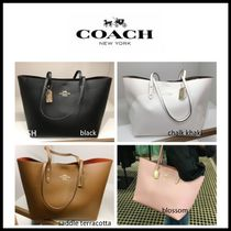 Coach Casual Style A4 Plain Leather Office Style Totes