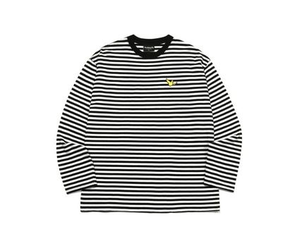 Mark Gonzales Crew Neck Stripes Unisex Street Style Long Sleeves Cotton