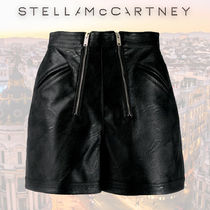 Stella McCartney Short Casual Style Faux Fur Leather & Faux Leather Shorts