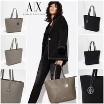 A/X Armani Exchange Casual Style A4 Plain Office Style Elegant Style Logo Totes