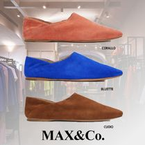 Max&Co. Square Toe Moccasin Blended Fabrics Plain Leather