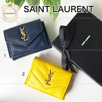 Saint Laurent Leather Small Wallet Logo Folding Wallets