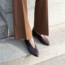 Malababa Plain Leather Office Style Elegant Style Pumps & Mules