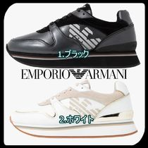 EMPORIO ARMANI Round Toe Rubber Sole Lace-up Casual Style Street Style