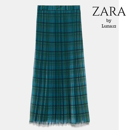 ZARA Other Plaid Patterns Flared Skirts Casual Style