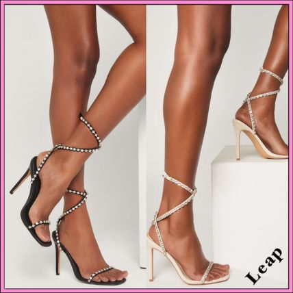 Casual Style Studded Plain Pin Heels Party Style