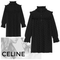 CELINE Triomphe Short Casual Style Silk Long Sleeves Party Style Logo