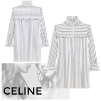CELINE Short Stripes Casual Style Linen Long Sleeves Cotton