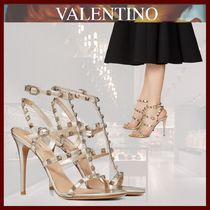 VALENTINO Open Toe Lace-up Casual Style Studded Leather Pin Heels