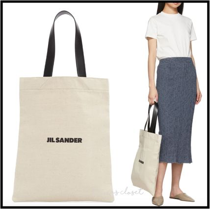 Casual Style Canvas Blended Fabrics Plain Logo Totes