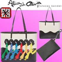 Alice+Olivia Casual Style Blended Fabrics Bi-color Office Style Logo
