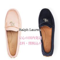 Ralph Lauren Round Toe Rubber Sole Casual Style Plain Leather Party Style