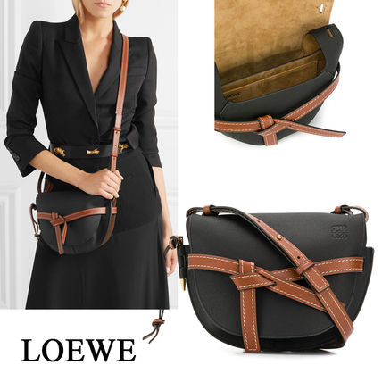 LOEWE GATE Casual Style Calfskin Office Style Crossbody Formal Style