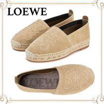 LOEWE Round Toe Rubber Sole Casual Style Plain Leather