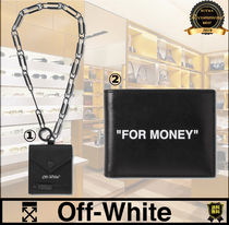 Off-White Unisex Street Style Chain Plain Leather Folding Wallet Logo