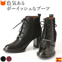 Hispanitas Lace-up Casual Style Plain Leather Block Heels Office Style