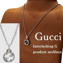 GUCCI Unisex Blended Fabrics Street Style Chain Silver Bridal Logo