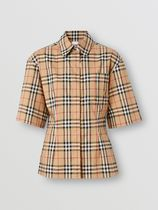 Burberry Tartan Casual Style Cotton Medium Short Sleeves