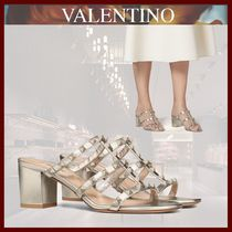 VALENTINO Open Toe Casual Style Studded Leather Block Heels
