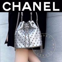 CHANEL ICON Casual Style Studded Street Style 2WAY Chain Plain Leather