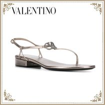VALENTINO Casual Style Plain Leather Block Heels Sandals Sandal