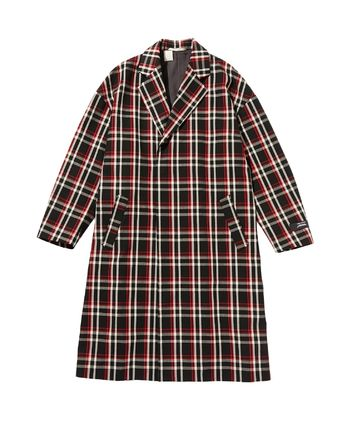 Other Plaid Patterns Wool Long Oversized Trench Coats
