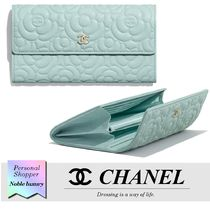 CHANEL MATELASSE Flower Patterns Calfskin Plain Leather Logo Icy Color