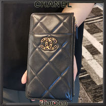 CHANEL ICON Unisex Plain Leather Long Wallet  Wallets & Card Holders
