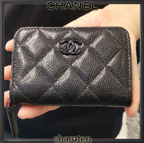 CHANEL TIMELESS CLASSICS Unisex Calfskin Plain Leather Small Wallet Logo Coin Cases