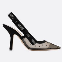 Christian Dior JADIOR Dots Blended Fabrics Plain Leather Pin Heels Party Style