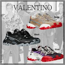 VALENTINO Blended Fabrics Street Style Plain Leather Logo Sneakers