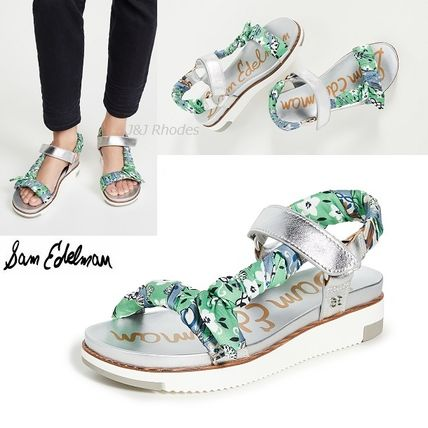 Flower Patterns Platform Casual Style Leather Shoes