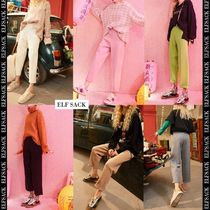 ELF SACK Casual Style Street Style Plain Long Short Length Icy Color
