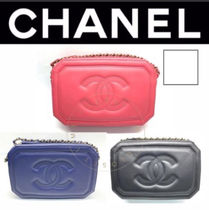 CHANEL ICON Casual Style 2WAY Chain Plain Leather Handmade Elegant Style
