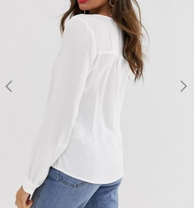Casual Style Plain Office Style Shirts & Blouses