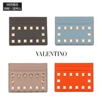 VALENTINO Calfskin Studded Plain Leather Logo Card Holders