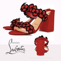 Christian Louboutin Flower Patterns Open Toe Suede Velvet Leather Block Heels