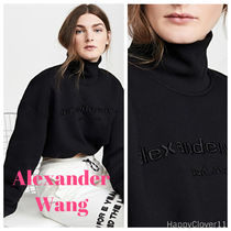Alexander Wang Short Street Style Long Sleeves Cotton Logo Turtlenecks