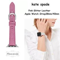 kate spade new york Casual Style Leather Glitter Apple Watch Belt Watches